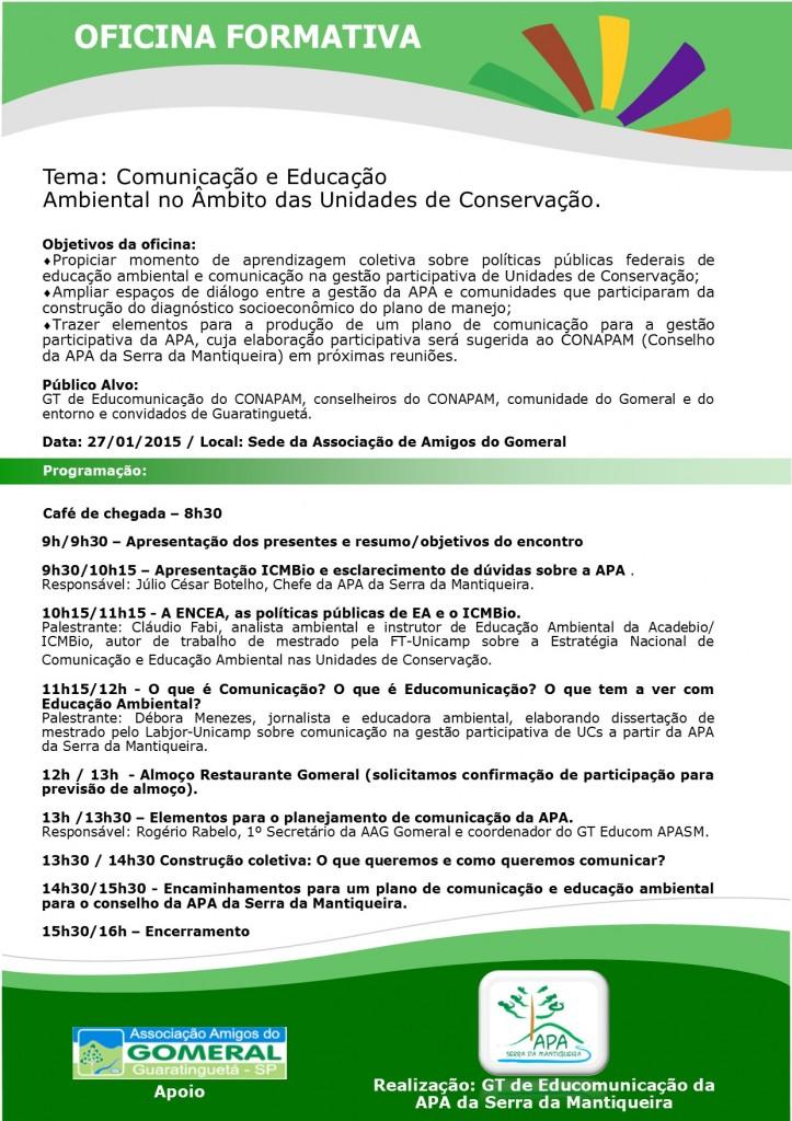 Cartaz da Oficina Formativa sobre Comunicação e Educação Ambinetal APASM